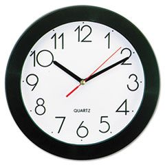 """BOLD ROUND WALL CLOCK, 9.75"""" OVERALL DIAMETER, BLACK CASE, 1 AA (SOLD SEPARATELY)"""