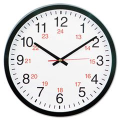 """24-HOUR ROUND WALL CLOCK, 12.63"""" OVERALL DIAMETER, BLACK CASE, 1 AA (SOLD SEPARATELY)"""