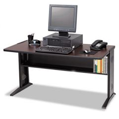 COMPUTER DESK WITH REVERSIBLE TOP, 47.5W X 28D X 30H, MAHOGANY/MEDIUM OAK/BLACK