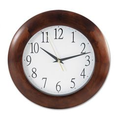 """ROUND WOOD WALL CLOCK, 12.75"""" OVERALL DIAMETER, CHERRY CASE, 1 AA (SOLD SEPARATELY)"""