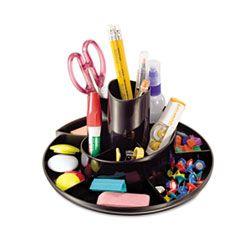 Rotary Desk Organizer, 11 Compartments, 8 3/4 Dia X 5 3/8, Black