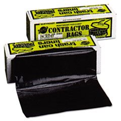 """HEAVYWEIGHT CONTRACTOR BAGS, 55 GAL, 3 MIL, 35"""" X 56"""", BLACK"""