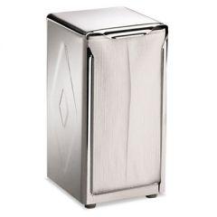 Tabletop Napkin Dispenser, Tall Fold, 3 3/4 X 4 X 7 1/2, Capacity: 150, Chrome