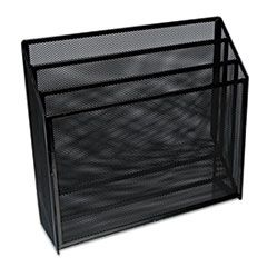 """DELUXE MESH THREE-TIER ORGANIZER, 3 SECTIONS, LETTER SIZE FILES, 12.63"""" X 3.63"""" X 11.5"""", BLACK"""