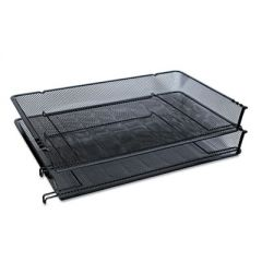 """Deluxe Mesh Stacking Side Load Tray, 1 Section, Legal Size Files, 17"""" x 10.88"""" x 2.5"""", Black"""