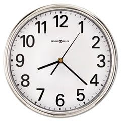 """HAMILTON WALL CLOCK, 12"""" OVERALL DIAMETER, SILVER CASE, 1 AA (SOLD SEPARATELY)"""