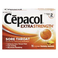 Extra Strength Sore Throat Lozenges, Honey Lemon, 16 Lozenges/box, 24 Box/carton