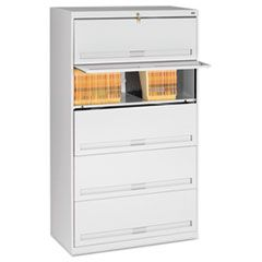 CLOSED FIXED FIVE-SHELF LATERAL FILE, 36W X 16.5D X 63.5H, LIGHT GRAY