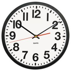 """LARGE NUMERAL CLOCK WITH AUTO DAYLIGHT SAVINGS ADJUSTMENT, 13"""" OVERALL DIAMETER, BLACK CASE, 1 AA (SOLD SEPARATELY)"""