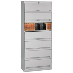 CLOSED FIXED SEVEN-SHELF LATERAL FILE, 36W X 16.5D X 87H, LIGHT GRAY