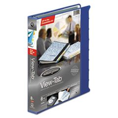 """VIEW-TAB PRESENTATION ROUND RING VIEW BINDER WITH TABS, 3 RINGS, 1"""" CAPACITY, 11 X 8.5, BLUE"""