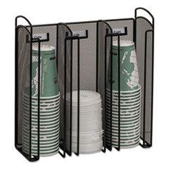 Onyx Breakroom Organizers, 3compartments, 12.75x4.5x13.25, Steel Mesh, Black