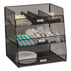 Onyx Breakroom Organizers, 3 Compartments,14.625x11.75x15, Steel Mesh, Black
