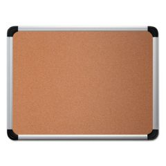 Cork Board With Aluminum Frame, 36 X 24, Natural, Silver Frame