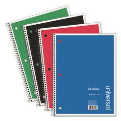 WIREBOUND NOTEBOOK, 1 SUBJECT, WIDE/LEGAL RULE, ASSORTED COLOR COVERS, 10.5 X 8, 70 SHEETS, 4/PACK