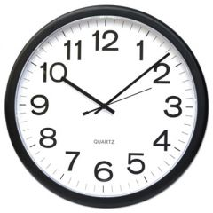 """ROUND WALL CLOCK, 13.5"""" OVERALL DIAMETER, BLACK CASE, 1 AA (SOLD SEPARATELY)"""