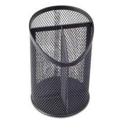 """Metal Mesh 3-Compartment Pencil Cup, 4 1/8"""" Dia, 6""""h, Black"""