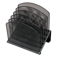 """METAL MESH TIERED FILE SORTER, 5 SECTIONS, LETTER TO LEGAL SIZE FILES, 11.25"""" X 7.5"""" X 11.25"""", BLACK"""