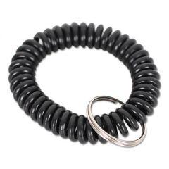 Wrist Coil Plus Key Ring, Plastic, Black, 6/pack