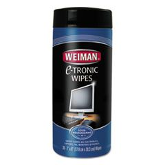 """E-Tronic Wipes, 8"""" X 7"""", White, 30/canister, 4/carton"""