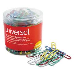 PLASTIC-COATED PAPER CLIPS, JUMBO, ASSORTED COLORS, 250/PACK