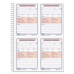 Wirebound Message Books, 5 1/2 X 3 3/16, Two-Part Carbonless, 200-Set Book