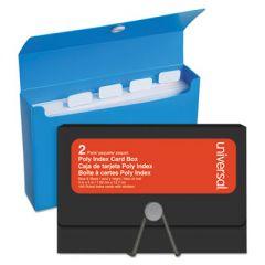 "POLY INDEX CARD BOX, PLASTIC, BLACK/BLUE, 3"" X 1.33"" X 5"", 2/PACK"