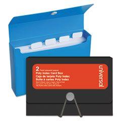 "POLY INDEX CARD BOX, PLASTIC, BLACK/BLUE, 4"" X 1.33"" X 6"", 2/PACK"