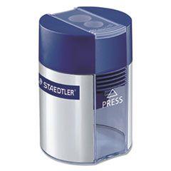 "HANDHELD MANUAL DOUBLE-HOLE PLASTIC SHARPENER, 1.57"" X 1.65"" X 2.2"", BLUE/SILVER, 6/BOX"