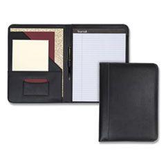 Contrast Stitch Leather Padfolio, 8 1/2 X 11, Leather, Black