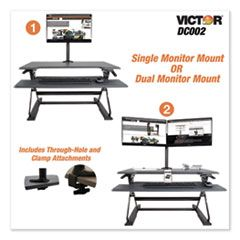 MONITOR MOUNT WITH SINGLE AND DUAL ARM COMPONENTS, 27.5W X 3D X 16.5H, BLACK