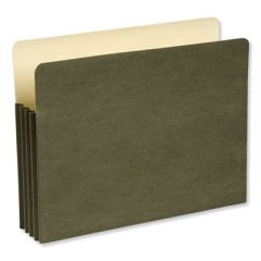 """RECYCLED FILE POCKET, 3.5"""" EXPANSION, LETTER SIZE, GREEN"""