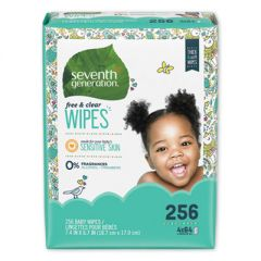 Free & Clear Baby Wipes, Refill, Unscented, White, 256/pk, 3 Pk/ct