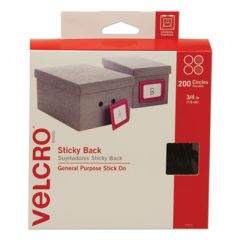 """STICKY-BACK FASTENERS, REMOVABLE ADHESIVE, 0.75"""" DIA, BLACK, 200/BOX"""
