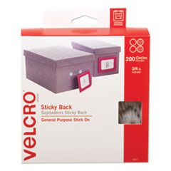 """STICKY-BACK FASTENERS, REMOVABLE ADHESIVE, 0.75"""" DIA, WHITE, 200/BOX"""