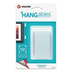 """HANGABLES REMOVABLE WALL FASTENERS, 1.75"""" X 3"""", WHITE, 8/PACK"""