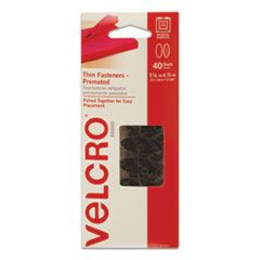 """WAFER-THIN HOOK AND LOOP FASTENERS, 0.5"""" X 1.25"""", BLACK, 40/PACK"""