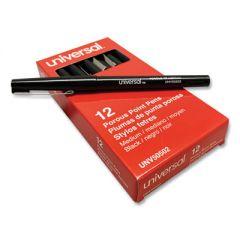 STICK POROUS POINT PEN, MEDIUM 0.7MM, BLACK INK/BARREL, DOZEN