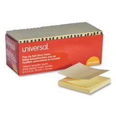 "Fan-Folded Self-Stick Pop-Up Note Pads, 3"" X 3"", Yellow, 90-Sheet, 24/pack"