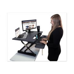 HIGH RISE HEIGHT ADJUSTABLE STANDING DESK WITH KEYBOARD TRAY, 31W X 31.25D X 20H, GRAY/BLACK