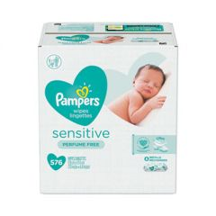 SENSITIVE BABY WIPES, WHITE, COTTON, UNSCENTED, 72/PACK, 8 PACKS/CARTON