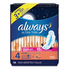 ULTRA THIN OVERNIGHT PADS WITH WINGS, 38/PACK, 6 PACKS/CARTON