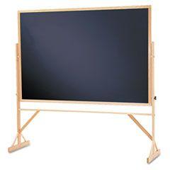 Reversible Chalkboard, 72 X 48, Black Surface, Oak Frame