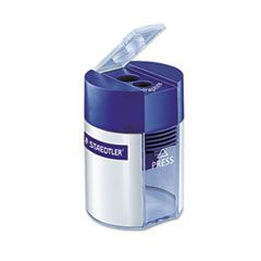 """CYLINDER HANDHELD PENCIL SHARPENER, TWO-HOLE, 2.25"""" X 1.63"""" X 1.63"""", BLUE/SILVER"""