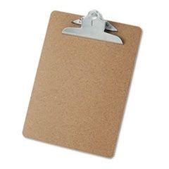 "Hardboard Clipboard, 1"" Capacity, Holds 8 1/2 X 11, Brown"
