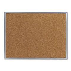 Bulletin Board, Natural Cork, 24 X 18, Satin-Finished Aluminum Frame