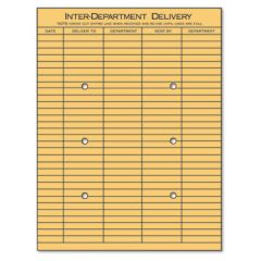 STRING AND BUTTON INTEROFFICE ENVELOPE, #97, TWO-SIDED FIVE-COLUMN FORMAT, 10 X 13, LIGHT BROWN KRAFT, 100/BOX